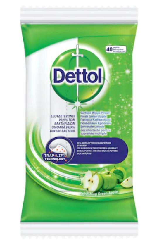 Servetele dezinfectante Mar Verde pentru suprafete, 40 bucati, Dettol drmax poza
