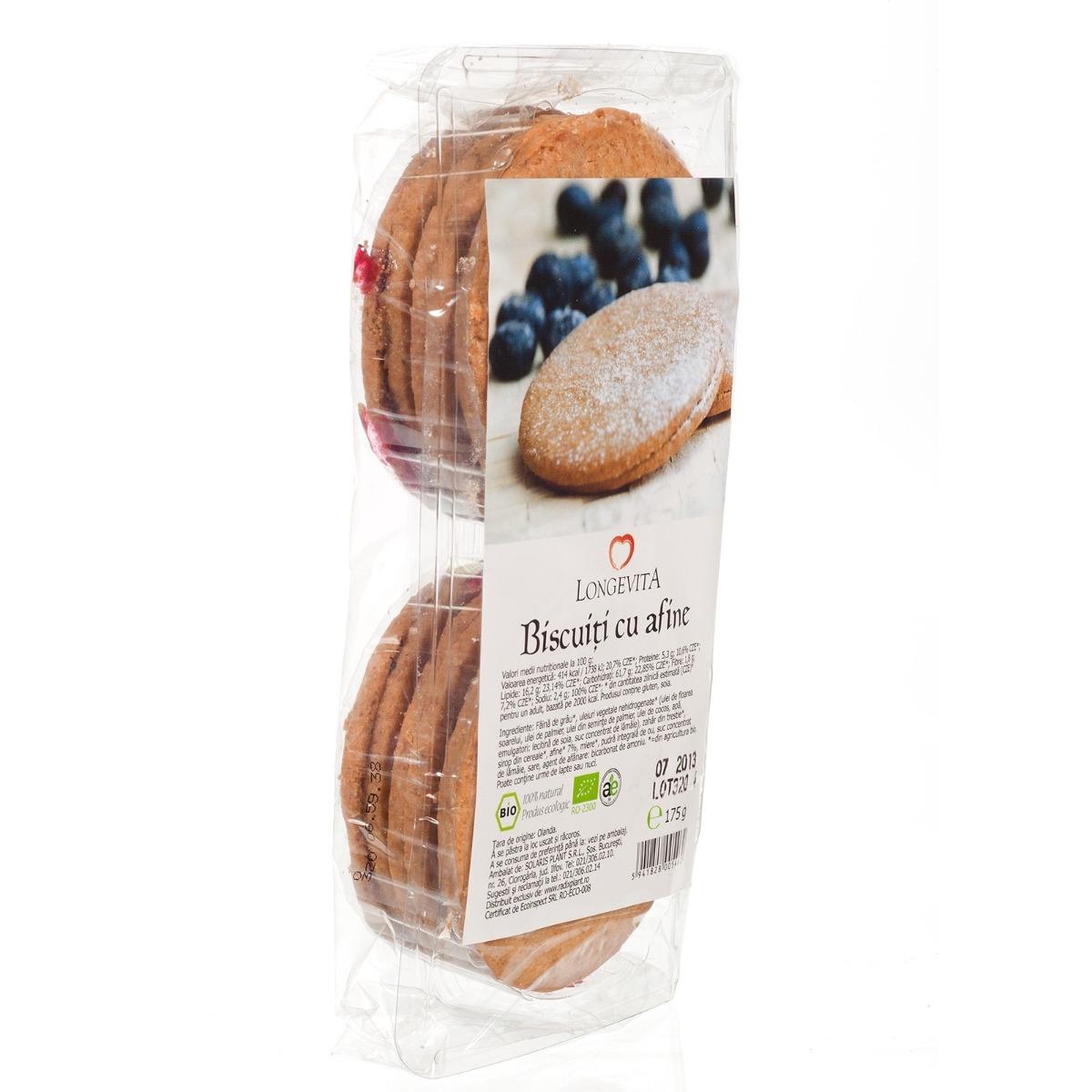 Biscuiti cu crema de Afine Bio, 175g, Longevita drmax.ro