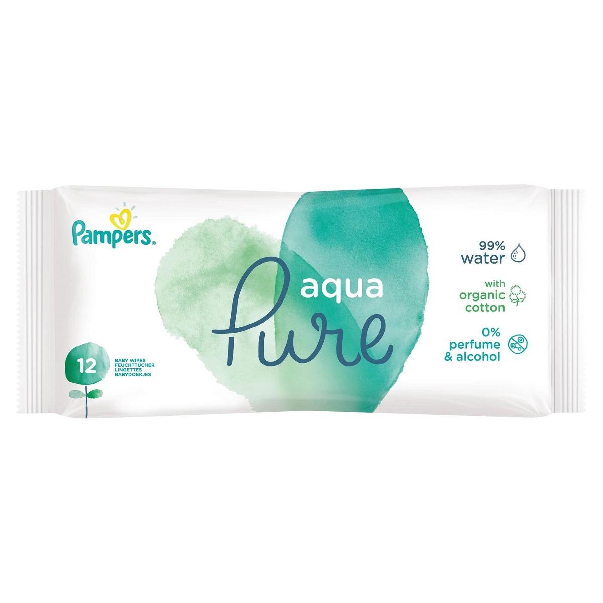 Servetele umede Aqua Pure, 12 bucati, Pampers drmax.ro