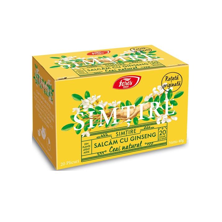 Ceai de salcam cu ginseng Simtire, 20 plicuri, Fares drmax.ro