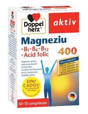 Magneziu 400 + B1 + B6 + B12 + Acid Folic, 30 comprimate+10 comprimate, Doppelherz drmax.ro