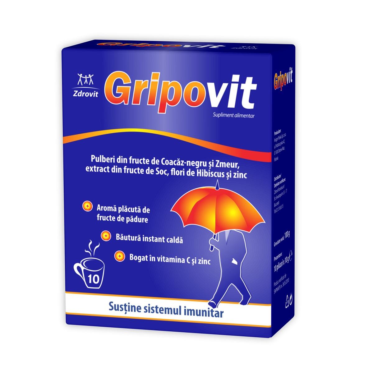 Gripovit, 10 plicuri, Zdrovit imagine produs 2021