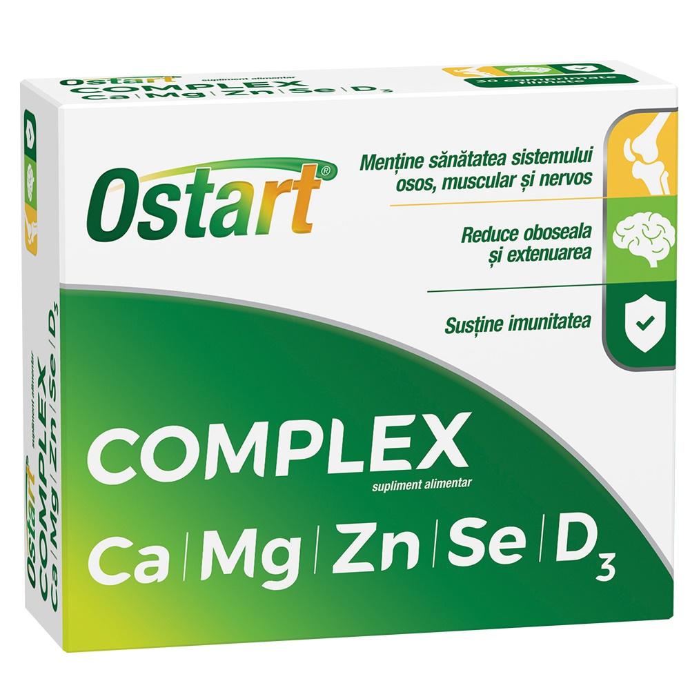 Ostart Complex Ca + Mg + Zn + Se + D3, 20 comprimate, Fiterman drmax poza