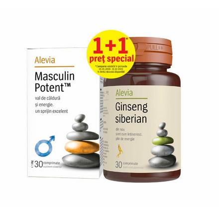 Pachet Masculin Potent 30 comprimate + Ginseng Siberian 30 comprimate, Alevia drmax.ro