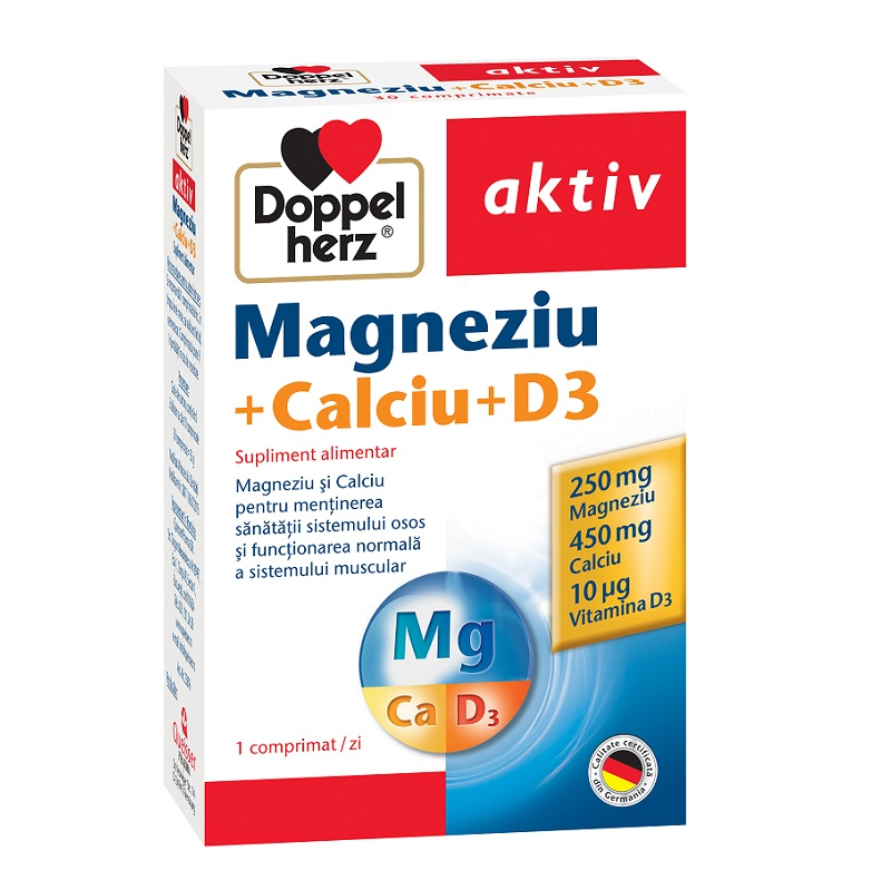 Magneziu + Calciu + D3, 30 comprimate, Doppelherz imagine produs 2021