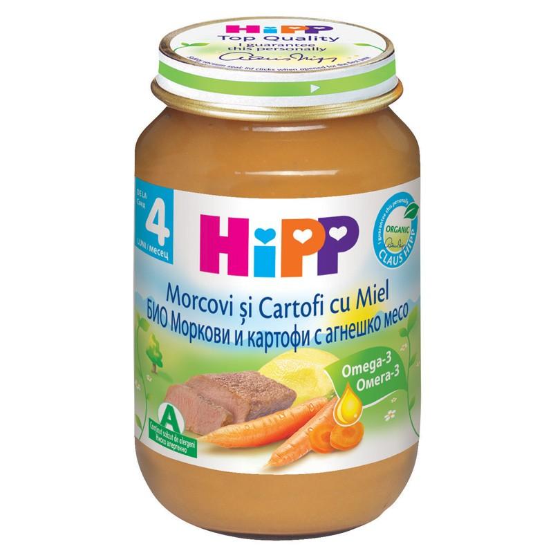 Meniu Bio din morcovi, cartofi si carne de miel, 190g, Hipp drmax.ro