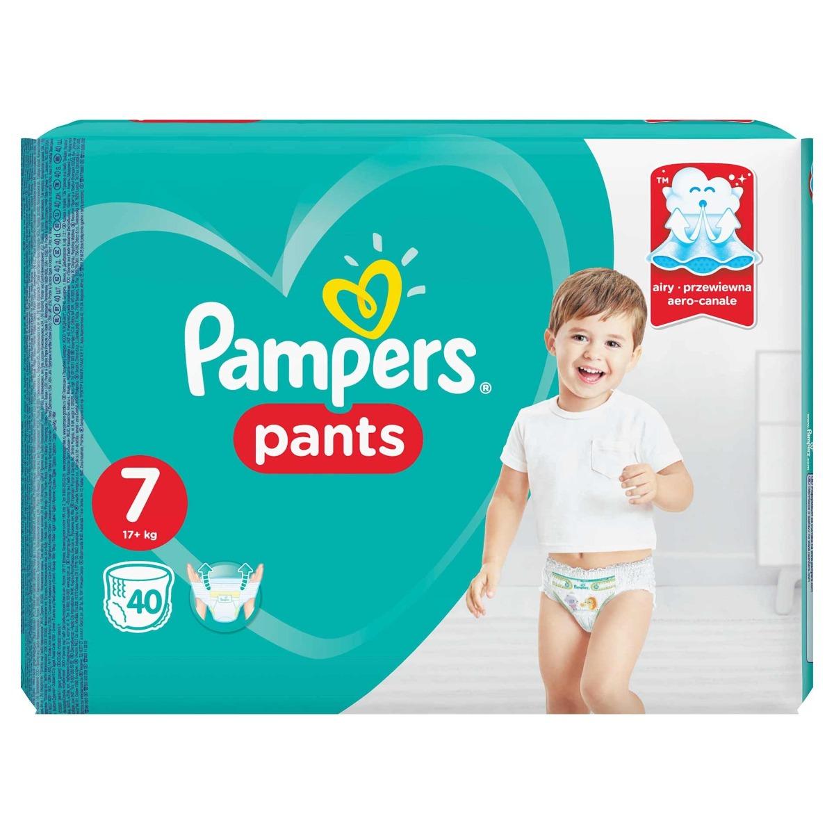 Scutece-chilotel Pants Jumbo Pack marimea 7 pentru 17+ kg, 40 bucati, Pampers