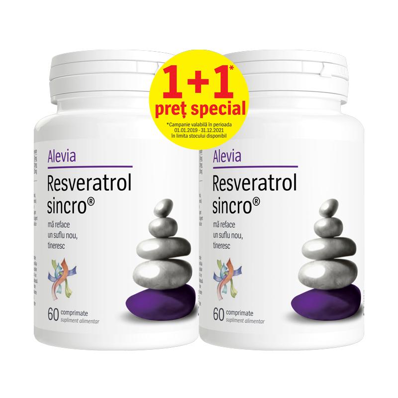 Pachet Resveratrol Sincro, 60 comprimate + 60 comprimate, Alevia drmax.ro