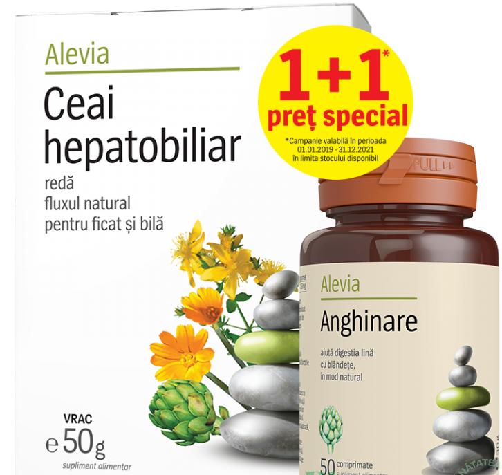 Pachet Anghinare 50 comprimate + Ceai Hepatobiliar 50g, Alevia drmax.ro