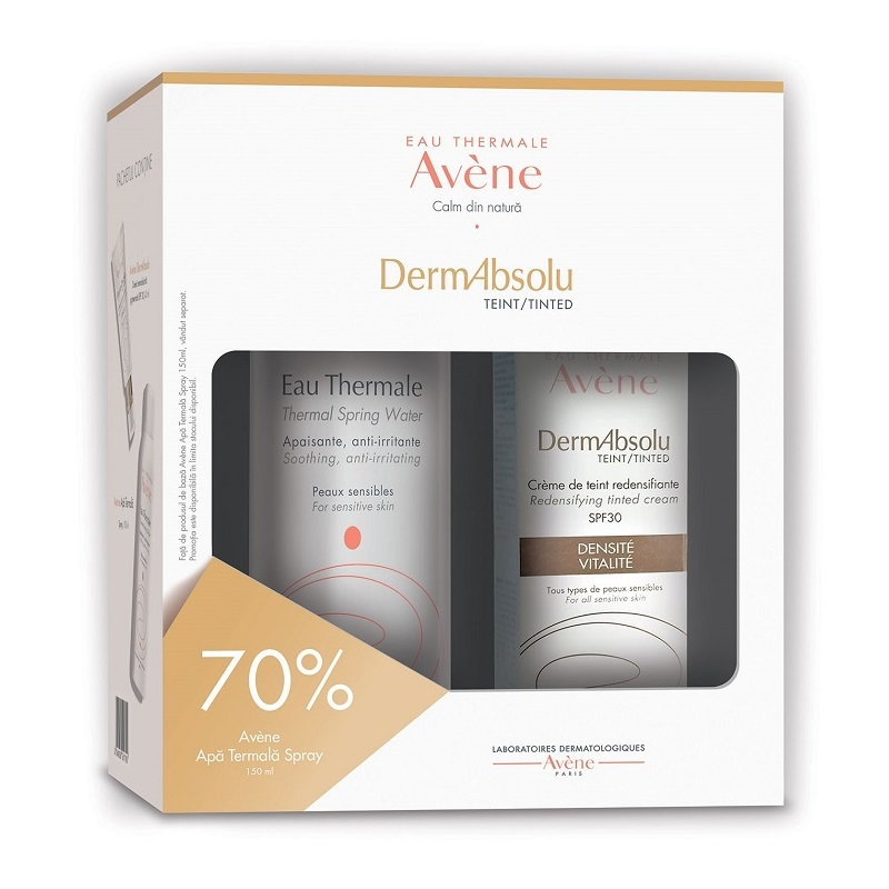 Pachet Crema remodelanta pigmentata cu SPF 30 DermAbsolu 40ml + Apa termala spray 150ml -70%, reducere, Avene drmax.ro