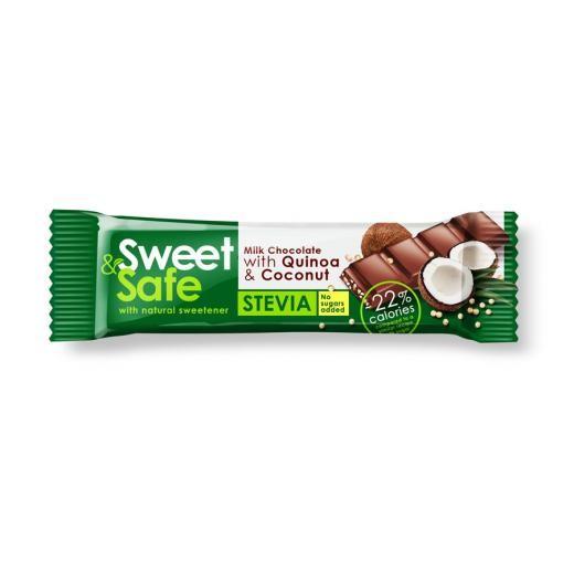 Ciocolata cu lapte si indulcitor natural de stevia Sweet&Safe, cocos si quinoa, 25 g, Sly Nutritia drmax.ro