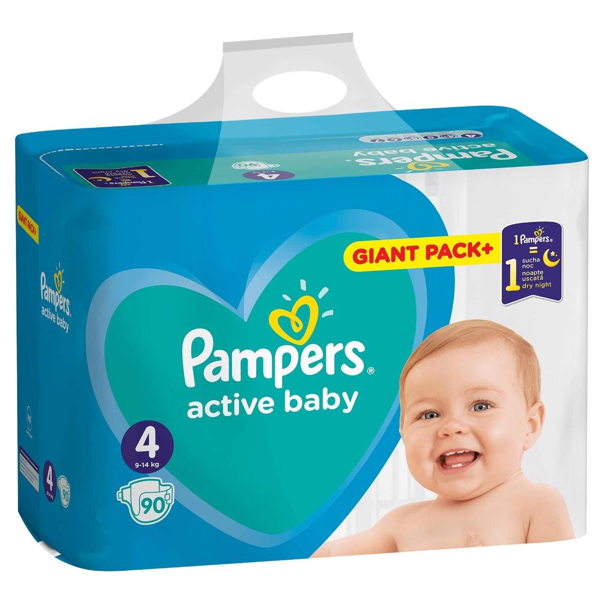 Scutece copii Active Baby marimea 4 pentru 9-14 kg, 90 bucati, Pampers