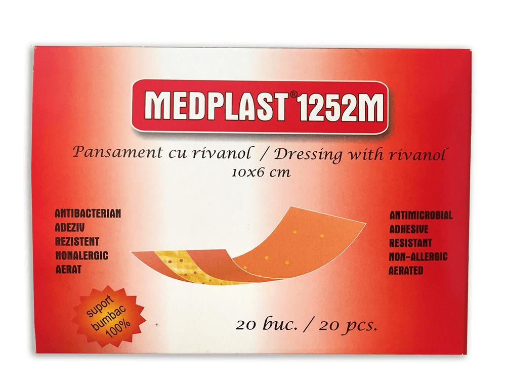 Pansament cu rivanol, 10x6 cm, 20 bucati, Medplast