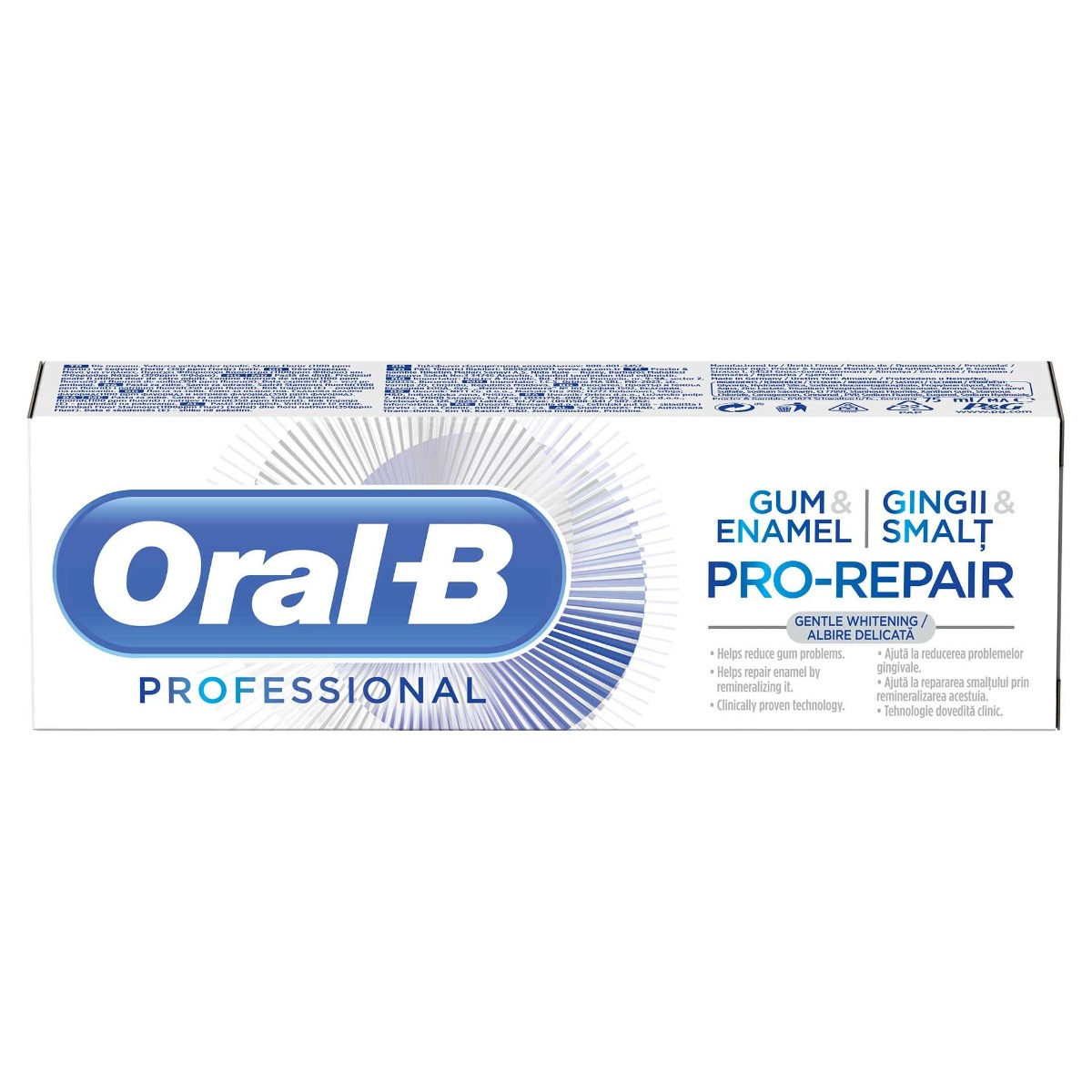 Pasta de dinti Professional Gum&Enamel Pro-Repair Gentle Whitening, 75ml, Oral-B drmax.ro