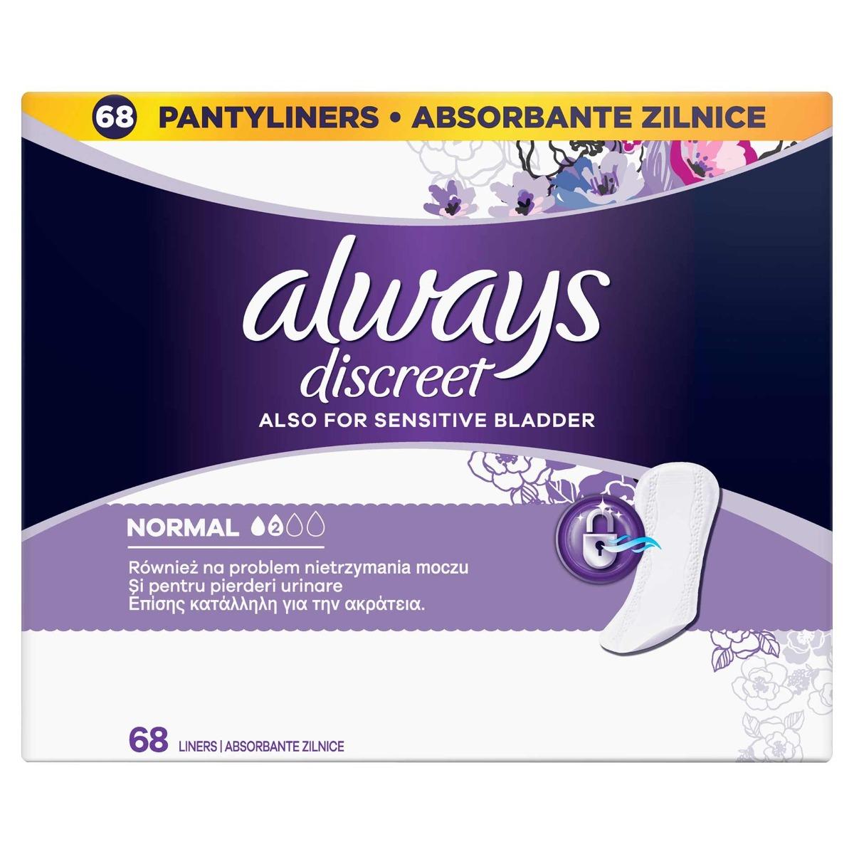 Absorbante zilnice pentru incontinenta urinara Discreet Liners Normal, 68 bucati, Always drmax.ro