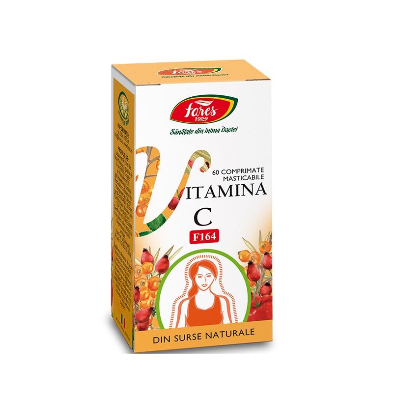 Vitamina C din surse naturale, 60 comprimate masticabile, Fares drmax.ro