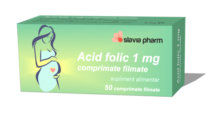 Acid folic 1 mg, 50 comprimate, Slavia Pharm imagine produs 2021