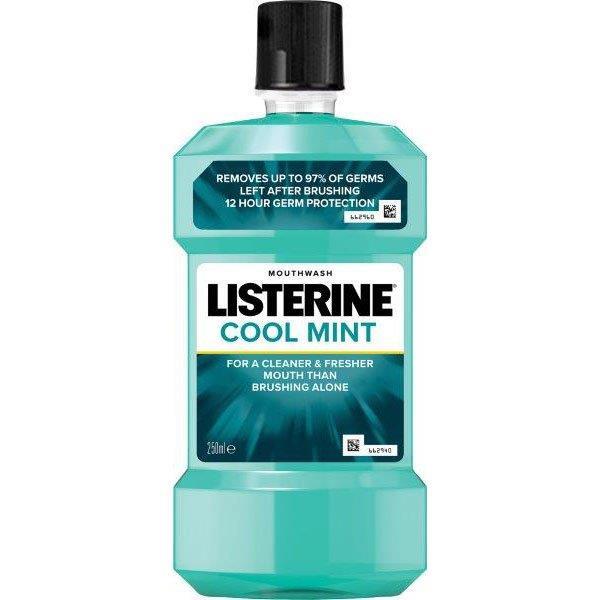 Apa de gura antiseptica Listerine Cool Mint, 250 ml, Johnson&Johnson