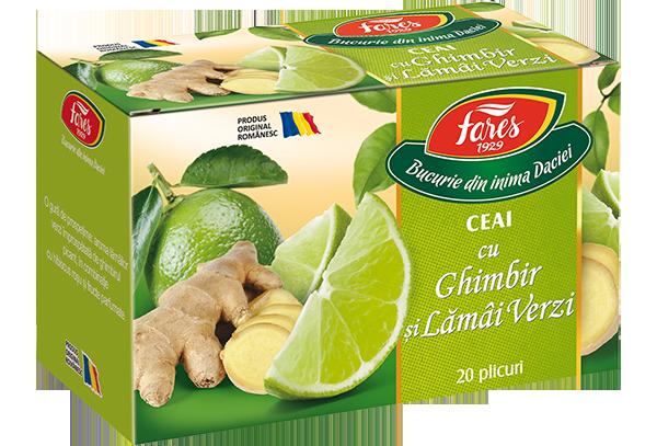 Ceai cu Ghimbir si lamai verzi, 20 plicuri, Fares drmax.ro