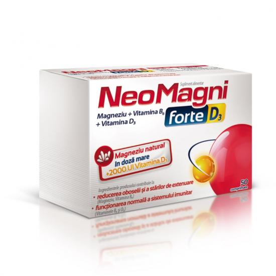 NeoMagni forte D3, 50 comprimate, Aflofarm drmax poza