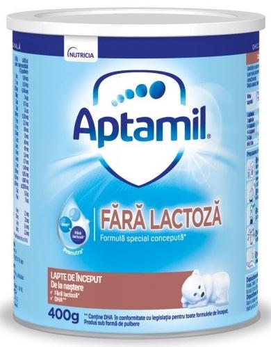 Lapte praf Aptamil fara lactoza, incepand de la nastere, 400 g, Nutricia la preț mic imagine