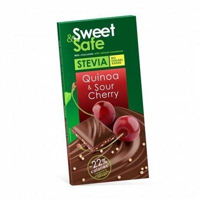 Ciocolata cu indulcitor natural de stevia Sweet&Safe, quinoa si visine, 90g, Sly Nutrition drmax.ro