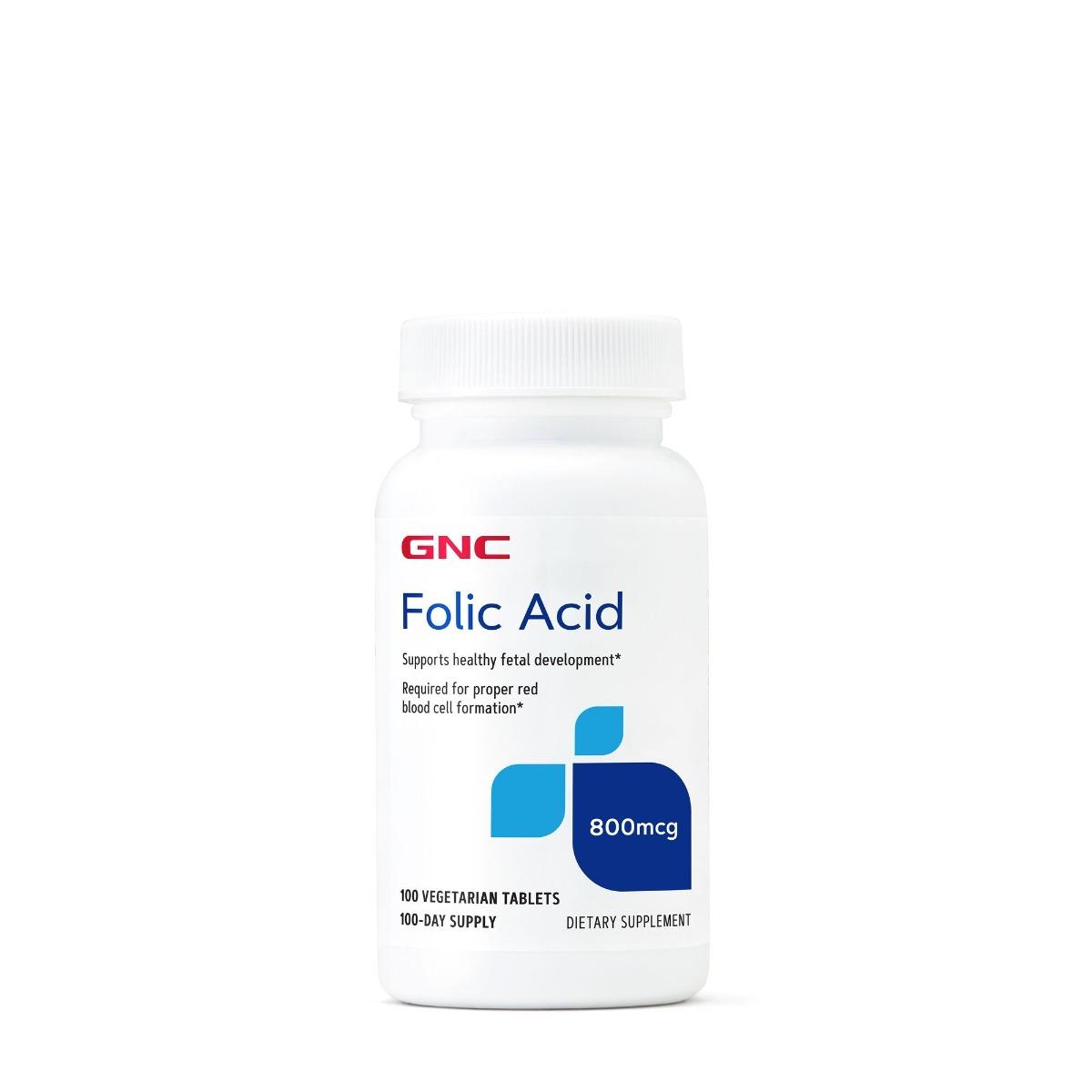 Acid Folic 800mcg, 100 tablete, GNC