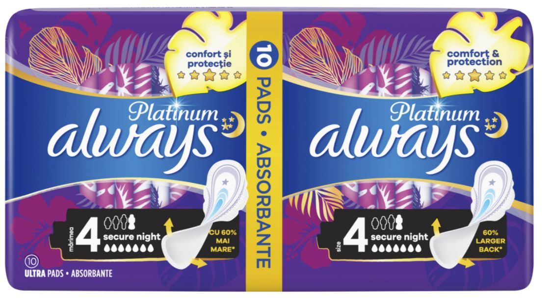 Absorbante Platinum Secure Night, 10 bucati, Always