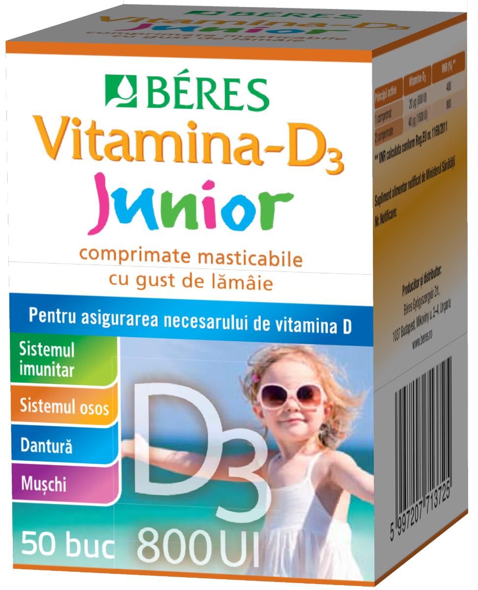 Vitamina D3 Junior 800 UI, 50 comprimate masticabile, Beres drmax.ro