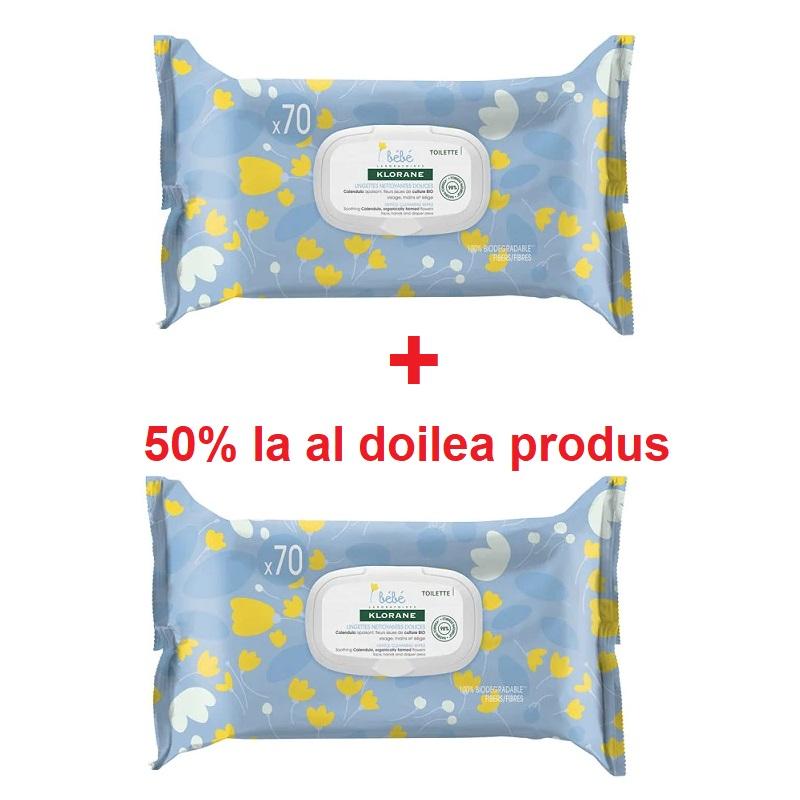 Servetele umede calmante 1+ 50% reducere la al dollea produs, 70 bucati + 70 bucati, Klorane Bebe