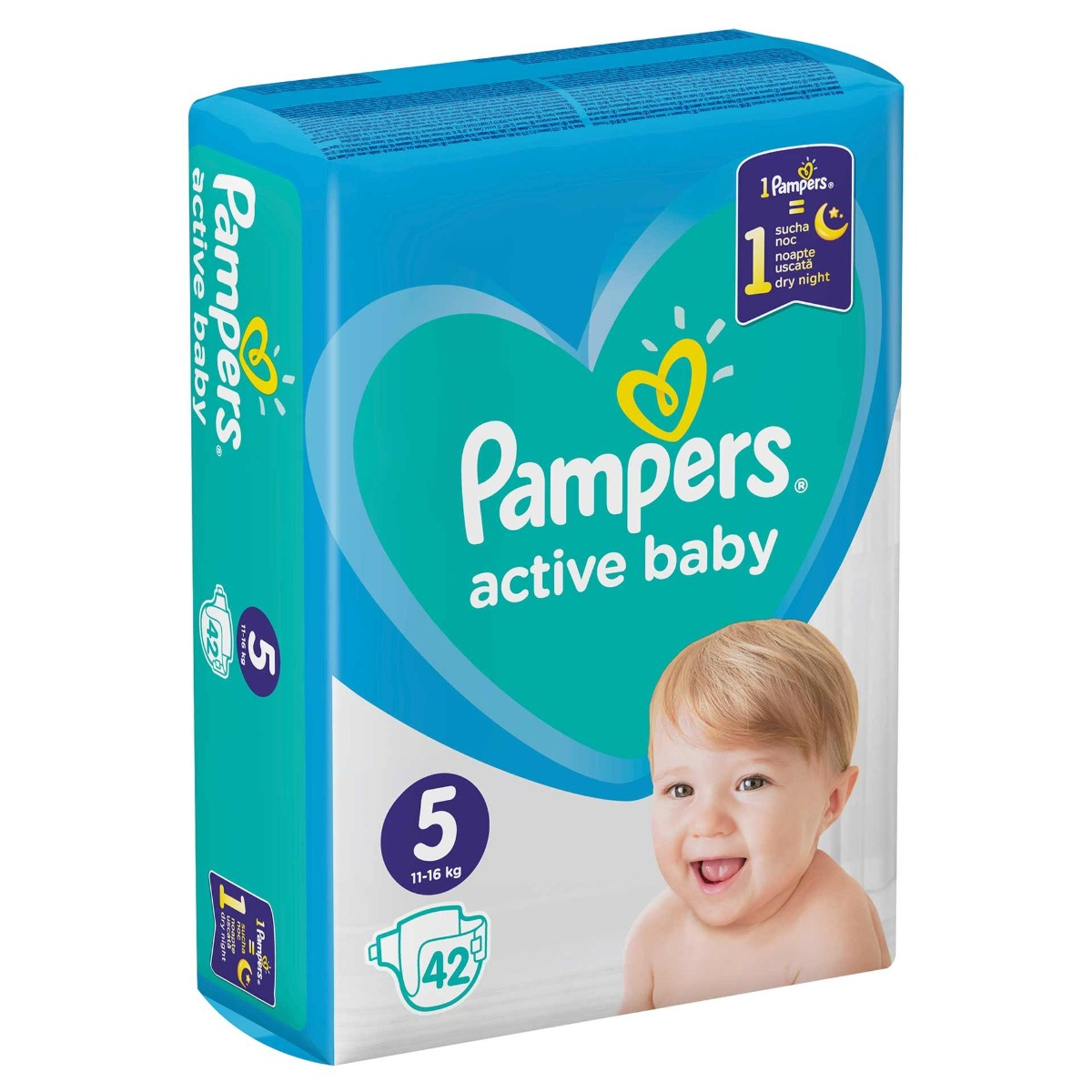 Scutece pentru copii Active Baby marimea 5 pentru 11-16 kg, 42 bucati, Pampers