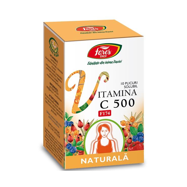Vitamina C 500 naturala, 10 plicuri, Fares imagine produs 2021