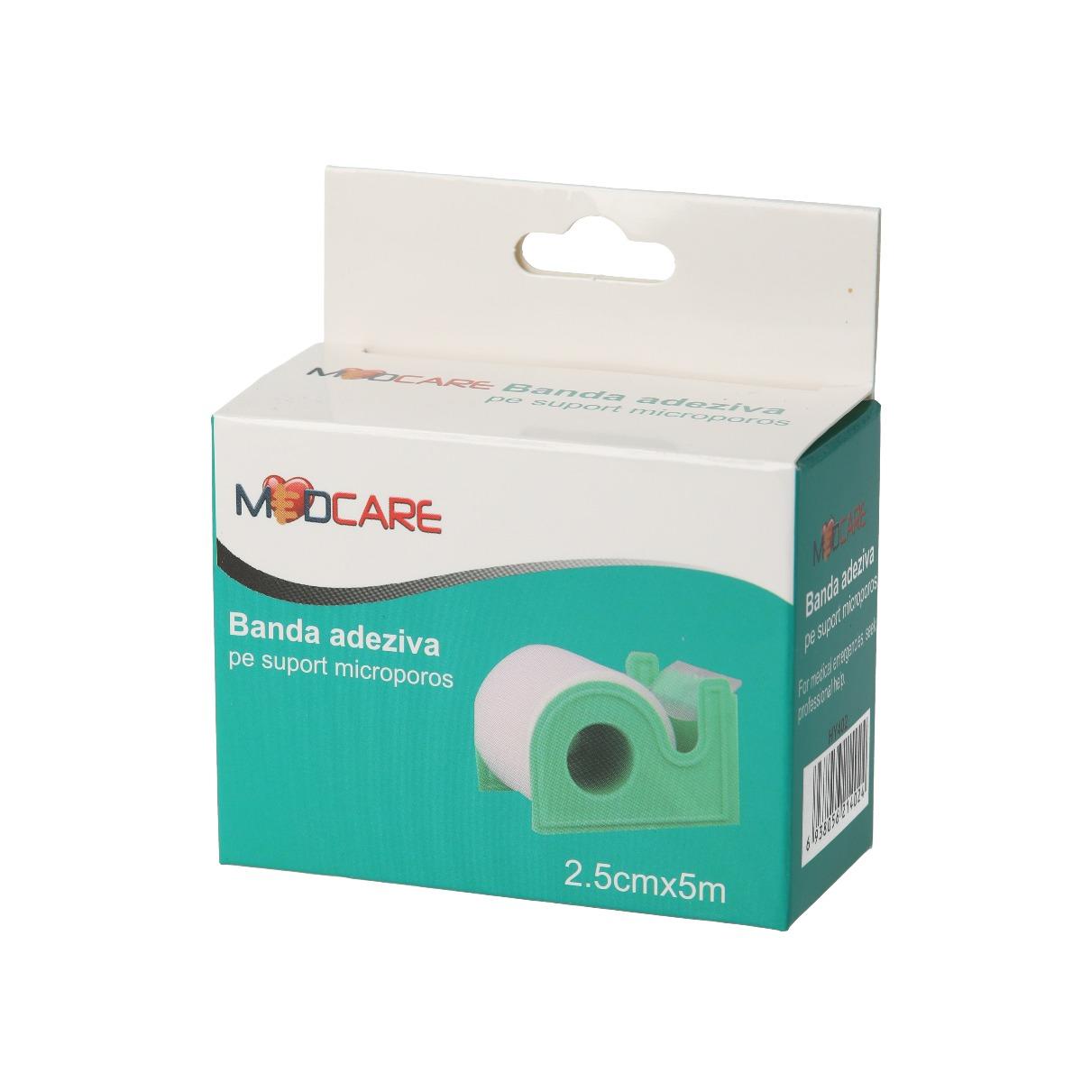 Banda adeziva pe suport microporos, 2.5 cm x 5 m, Medcare drmax.ro