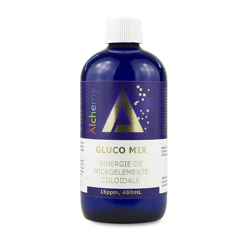 Gluco Mix sinergie de microelemente coloidale Alchemy 15 ppm, 480ml, Aghoras drmax poza