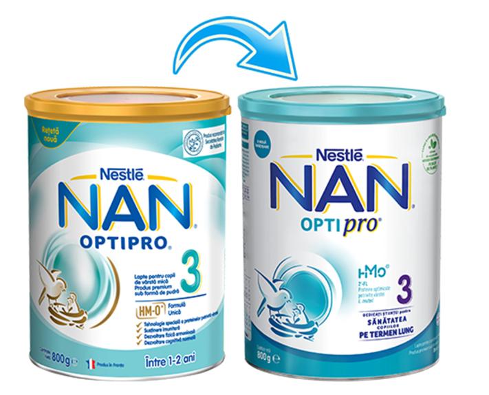 Lapte praf Nan 3 Optipro, incepand de la 12 luni, 800g, Nestle drmax.ro