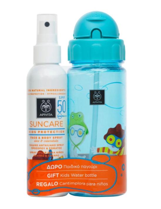 Spray Sun Kids cu SPF 50 si sticla cadou, 150ml, Apivita drmax.ro