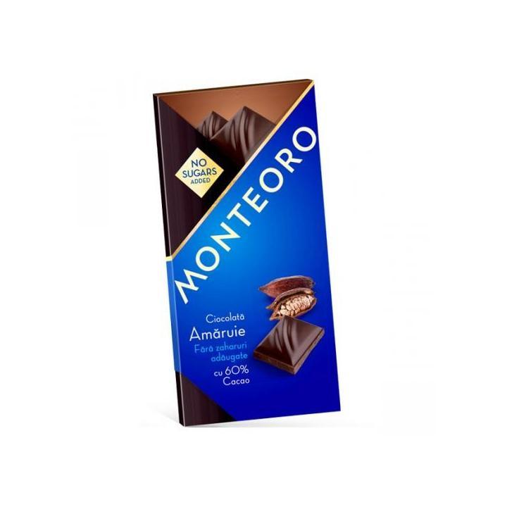 Ciocolata amaruie fara zahar, 90 g, Monteoro la preț mic imagine