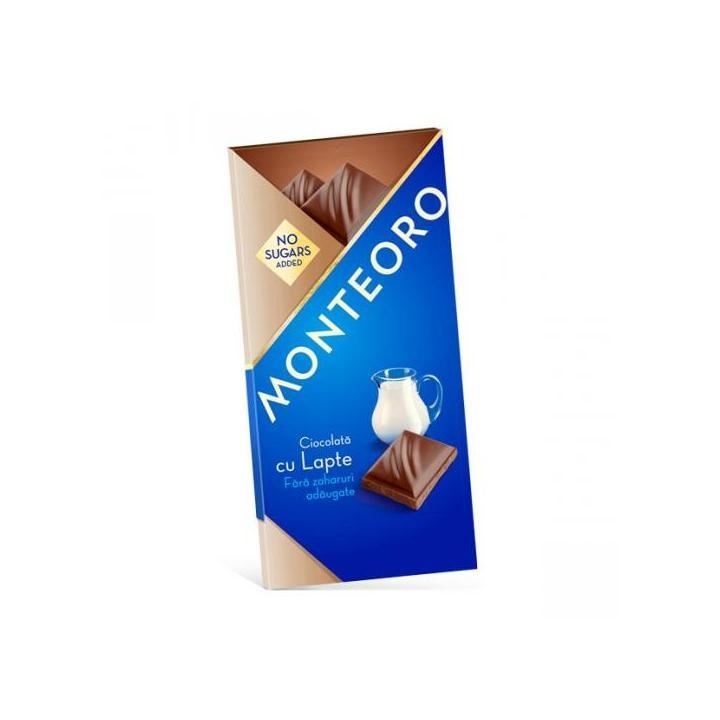 Ciocolata cu lapte fara zahar, 90g, Monteoro drmax.ro