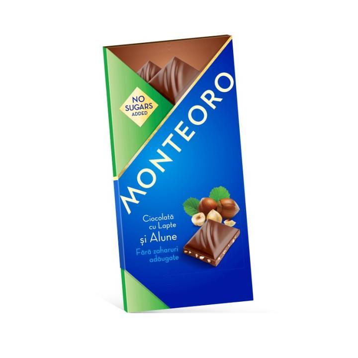 Ciocolata cu lapte si alune, fara zahar, 90 g, Monteoro drmax.ro