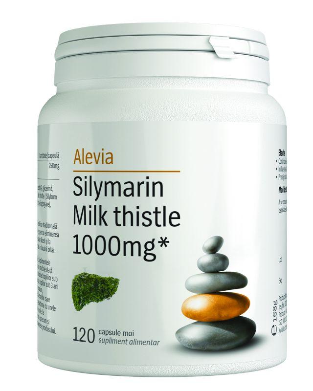 Silymarin Milk thistle 1000mg, 120 comprimate, Alevia imagine produs 2021