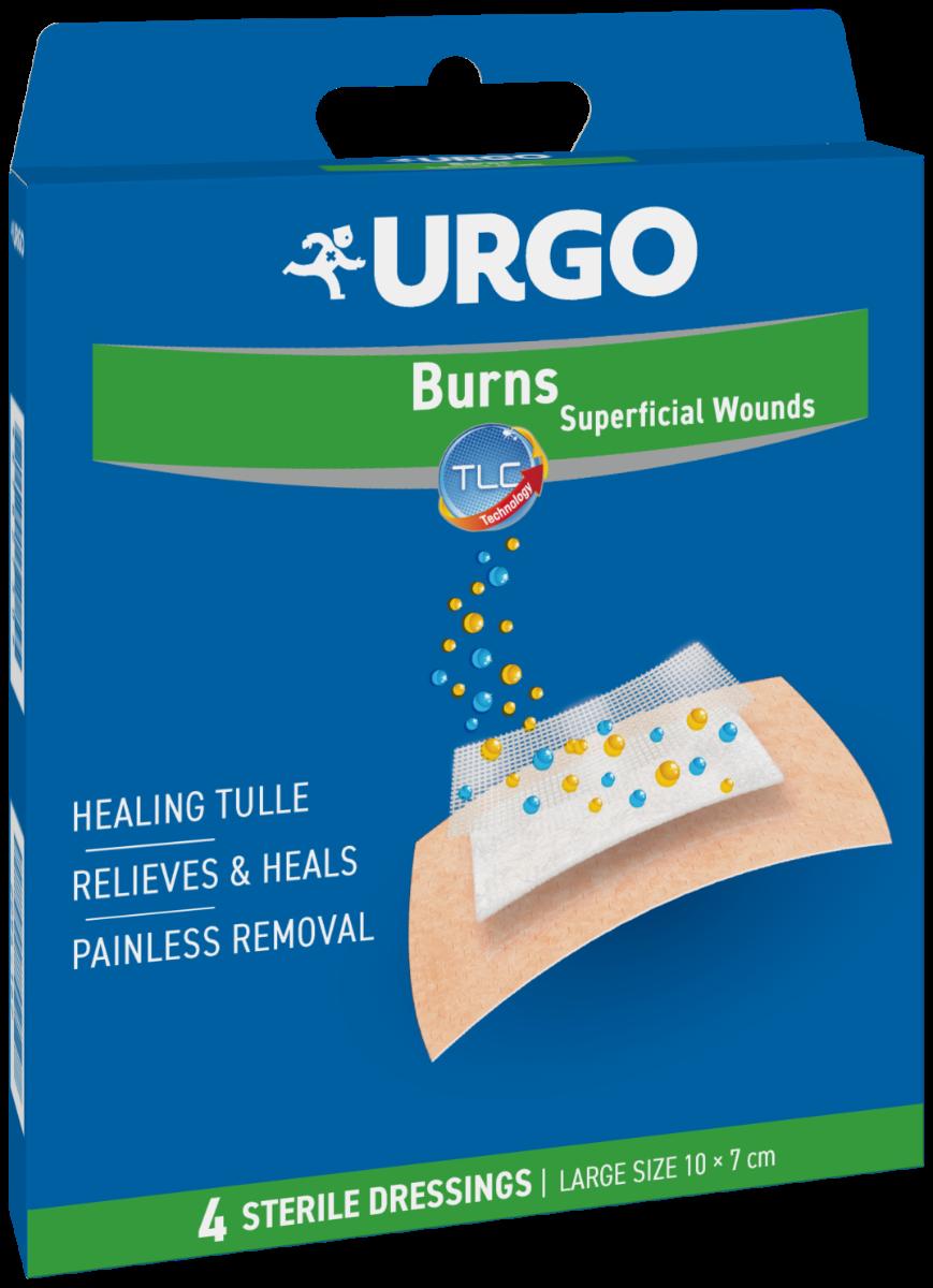 Plasturi mari pentru arsuri si rani superficiale, 10x7 cm, 4 bucati, Urgo
