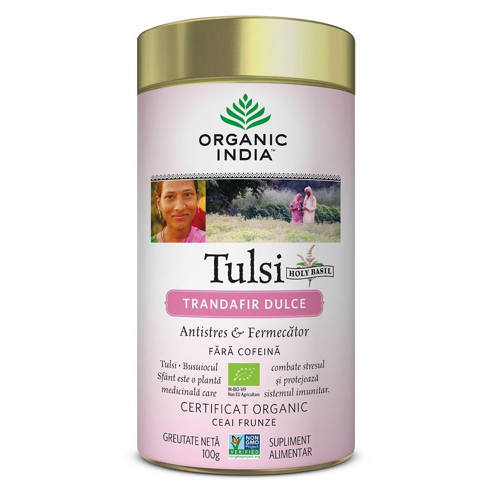 Ceai Tulsi Trandafir Dulce Antistres, 100g, Organic India drmax.ro
