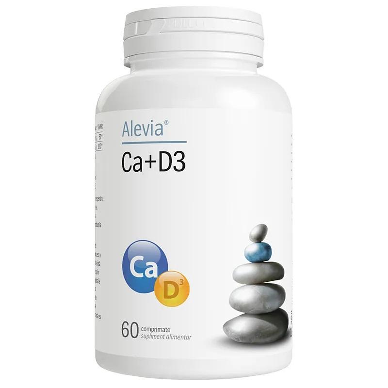 Calciu vitamina D3, 60 comprimate, Alevia drmax poza