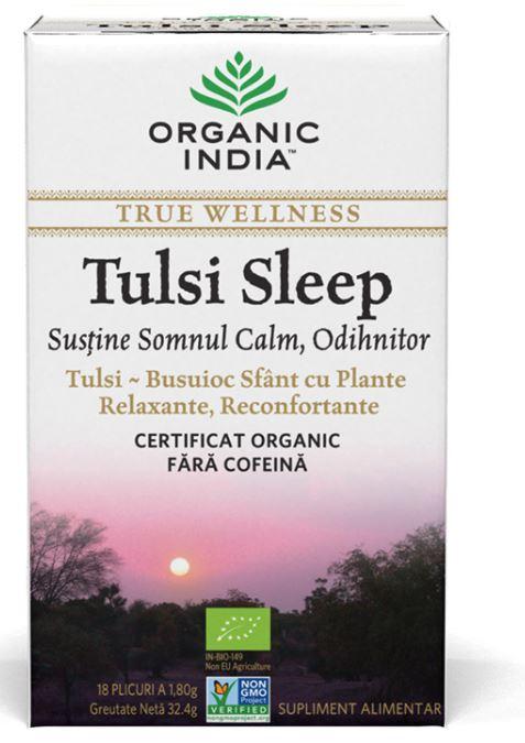 Tulsi Sleep Ceai, 18 plicuri, Organic India drmax.ro