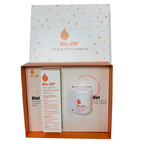 Pachet Ulei pentru ingrijirea pielii, 200ml + Gel pentru ingrijirea pielii uscate, 100ml cu 50% reducere, Bio Oil drmax.ro