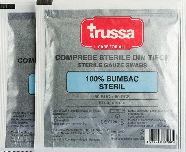 Comprese sterile taiate, 10x8 cm, 5 buc, Trussa drmax poza