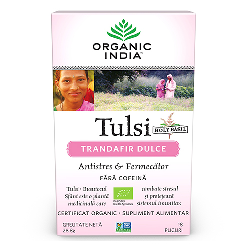 Ceai Tulsi Trandafir Dulce Antistres & Fermecator, 18 plicuri, Organic India drmax poza