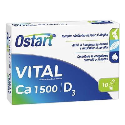 Ostart Vital Ca 1500 + D3, 10 plicuri, Fiterman drmax poza