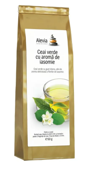 Ceai verde cu aroma de iasomie, 50g, Alevia drmax.ro