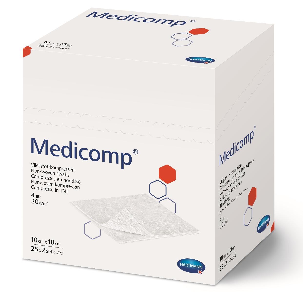 Comprese extra absorbante din material netesut, 10x10 cm, 25 bucati, Medicomp